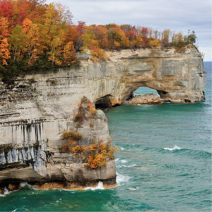 Pictured Rocks National Lakeshore is a beautiful place to see the mesmerizing Michigan fall colors.